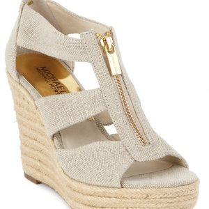 Michael Kors Damita Platform Linen Wedge Sandal 10